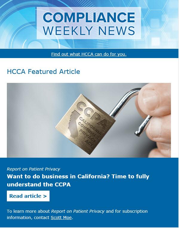 HCCA's Compliance Weekly News