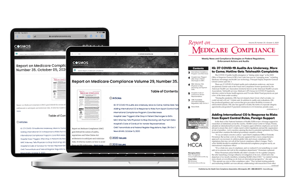 Report on Medicare Compliance - Printed newsletter + online access