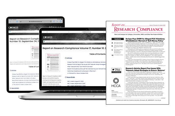 Report on Research Compliance - Print and online access