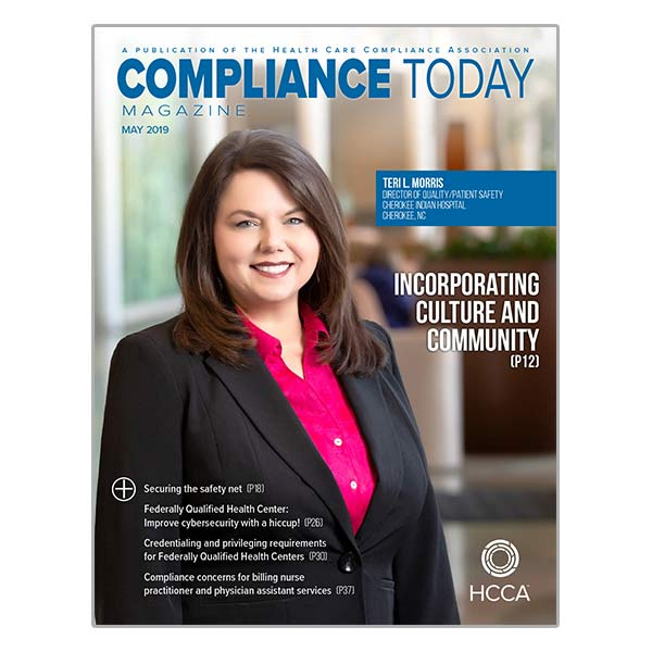 Compliance Today May 2019 cover